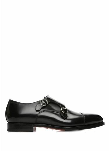 Santoni %100 Deri Çift Tokalı Klasik Ayakkabı Siyah